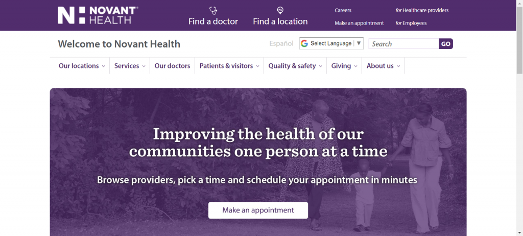 example of a good diagnostic center website design